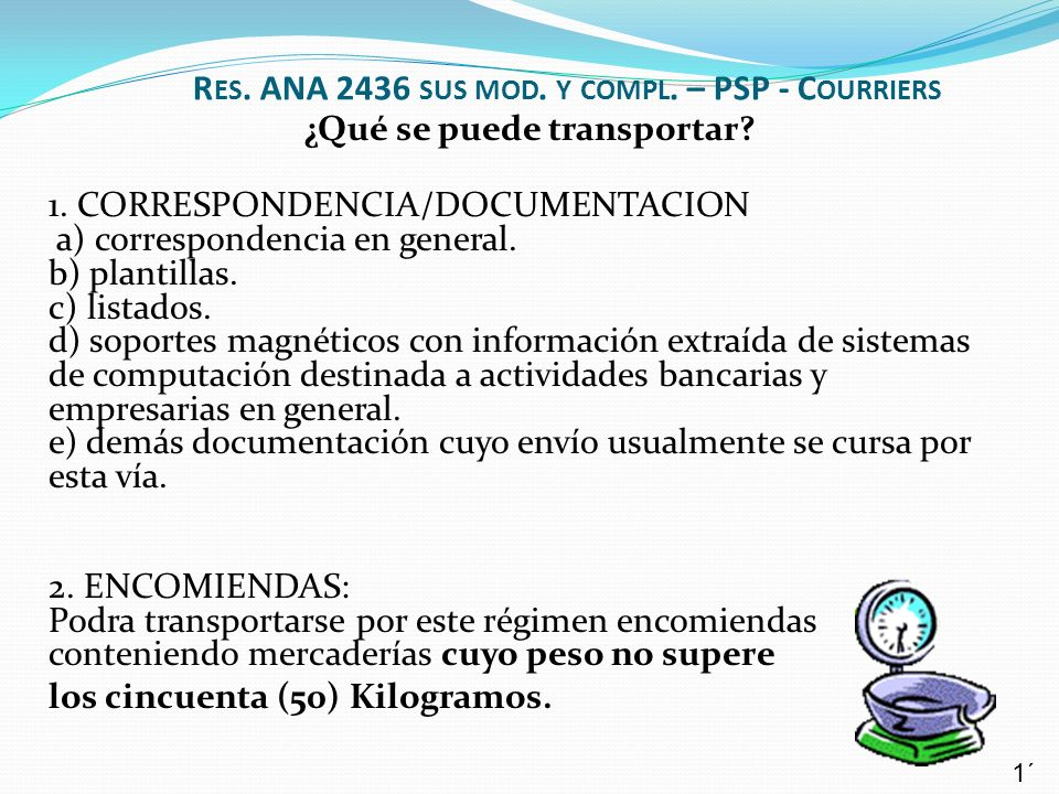 Res. ANA 2436 sus mod. y compl. – PSP - Courriers