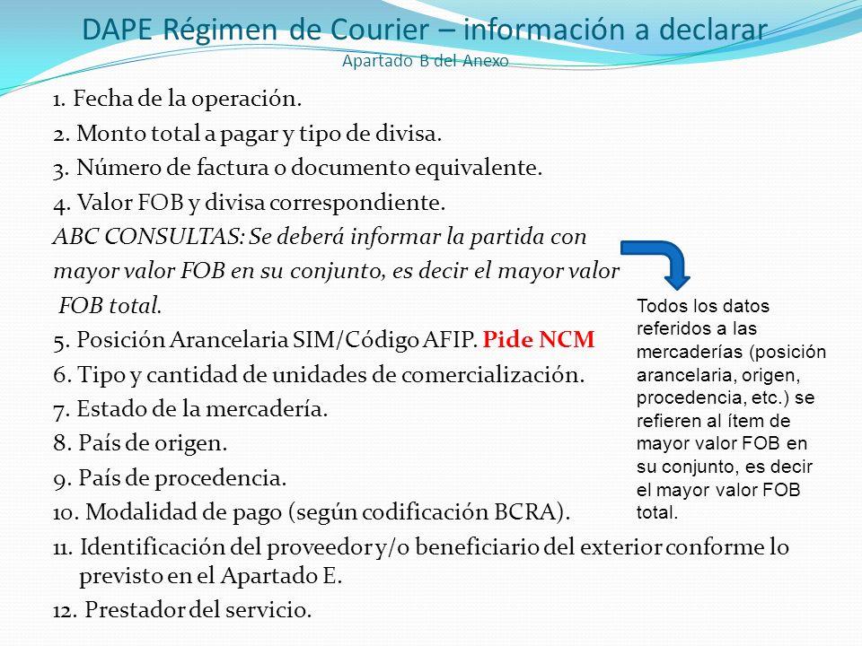 DAPE Régimen de Courier – información a declarar Apartado B del Anexo