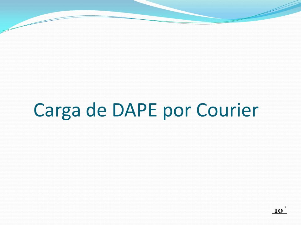 Carga de DAPE por Courier