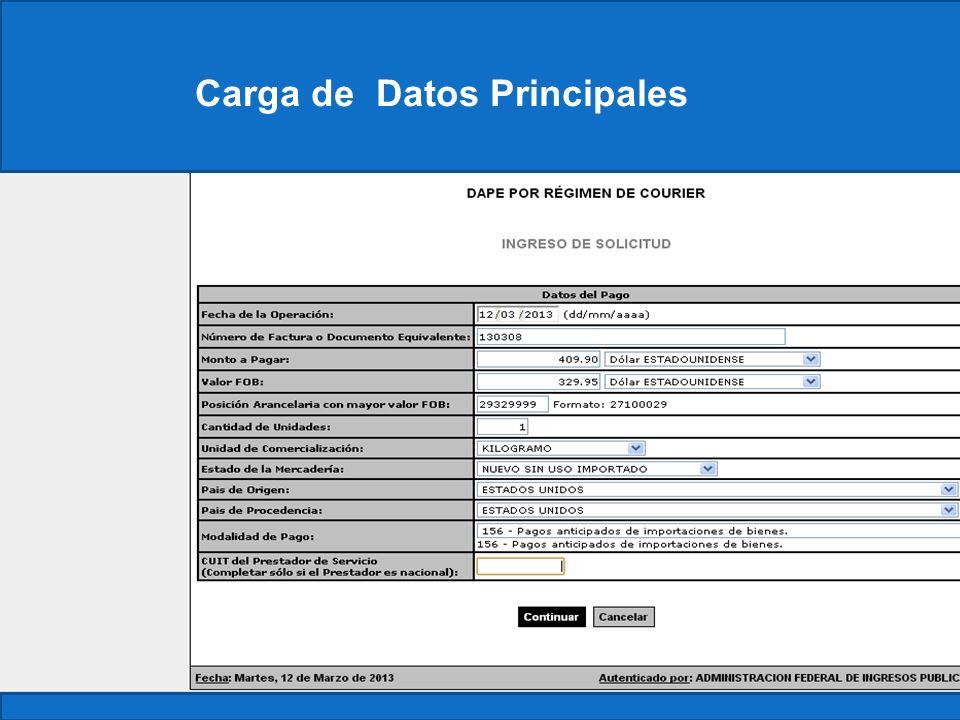 Carga de Datos Principales
