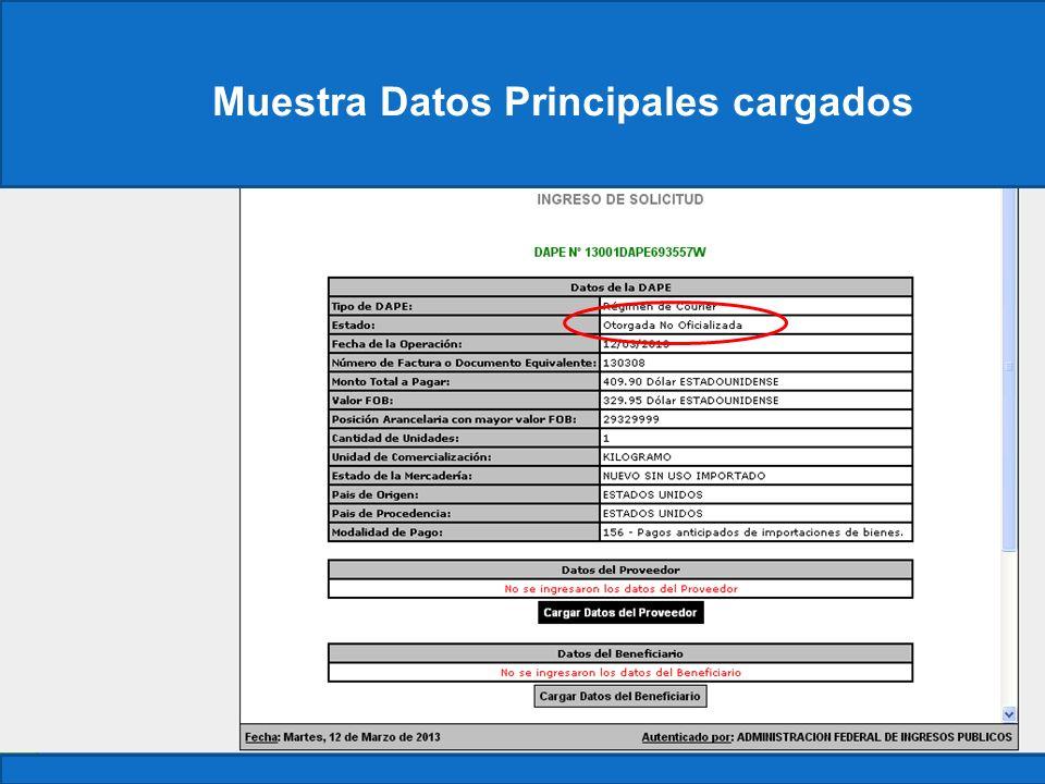 Muestra Datos Principales cargados