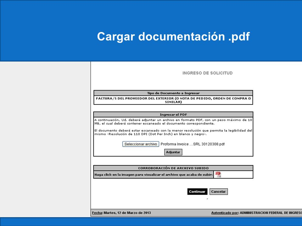 Cargar documentación .pdf