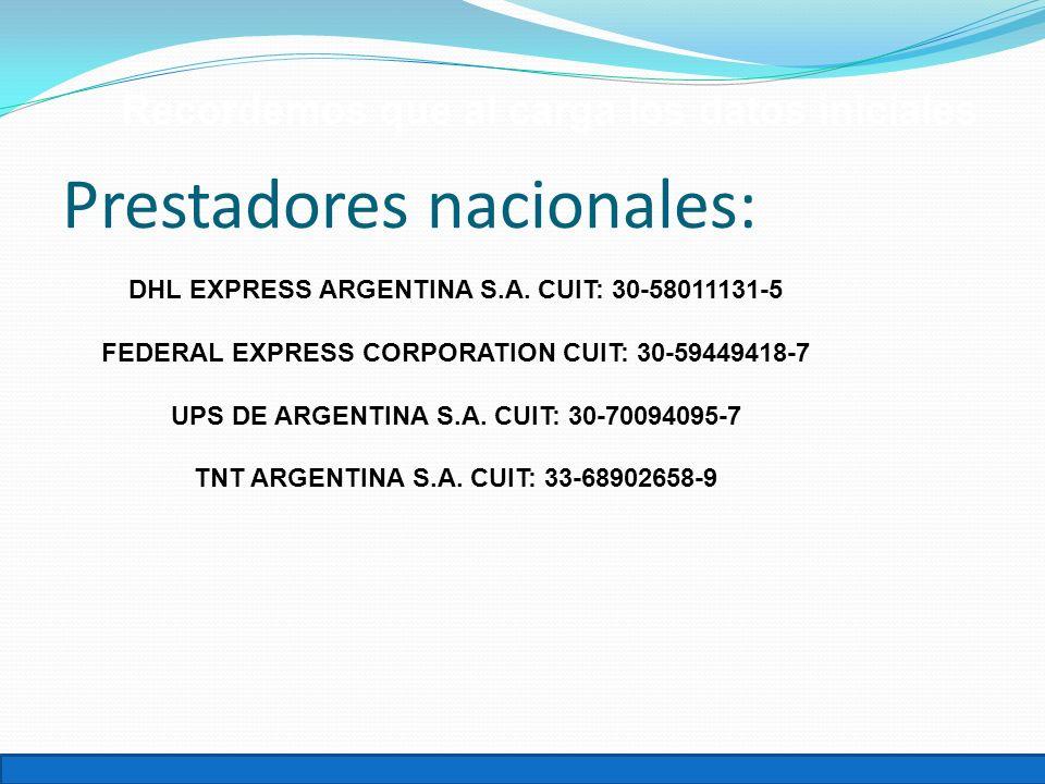 Prestadores nacionales: