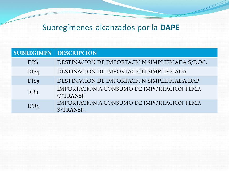 Subregímenes alcanzados por la DAPE