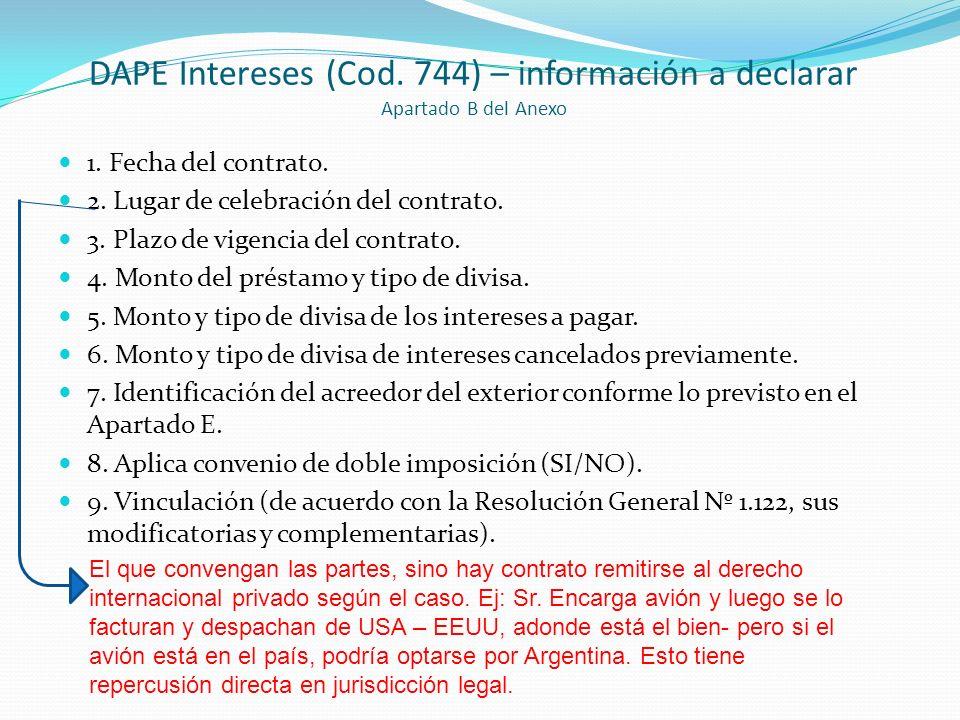 DAPE Intereses (Cod. 744) – información a declarar Apartado B del Anexo
