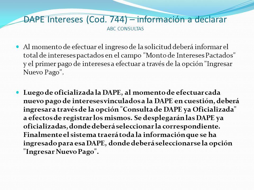 DAPE Intereses (Cod. 744) – información a declarar ABC CONSULTAS