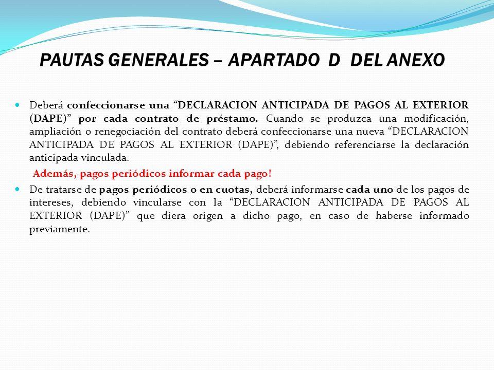 PAUTAS GENERALES – APARTADO D DEL ANEXO