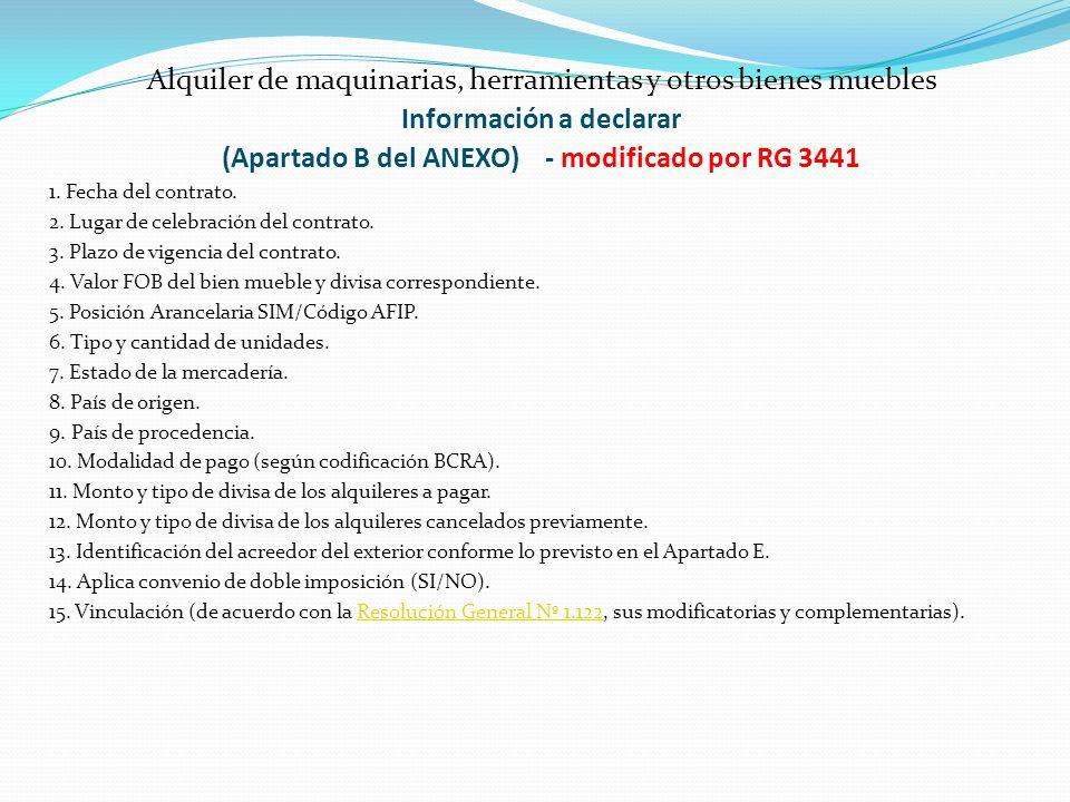 Información a declarar (Apartado B del ANEXO) - modificado por RG 3441