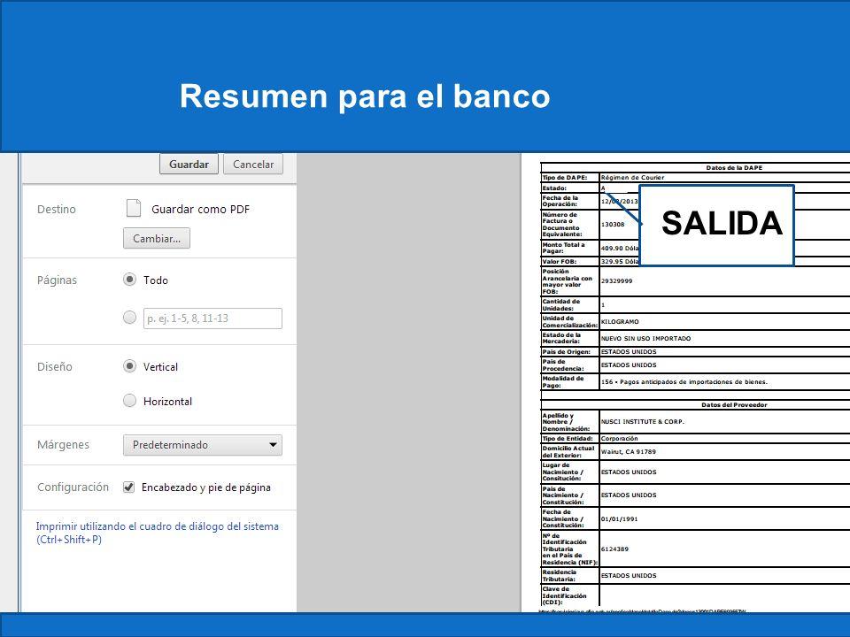 Resumen para el banco Constancia SALIDA