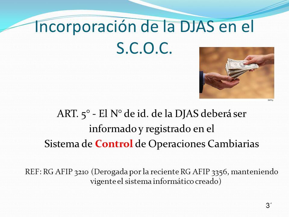 Incorporación de la DJAS en el S.C.O.C.