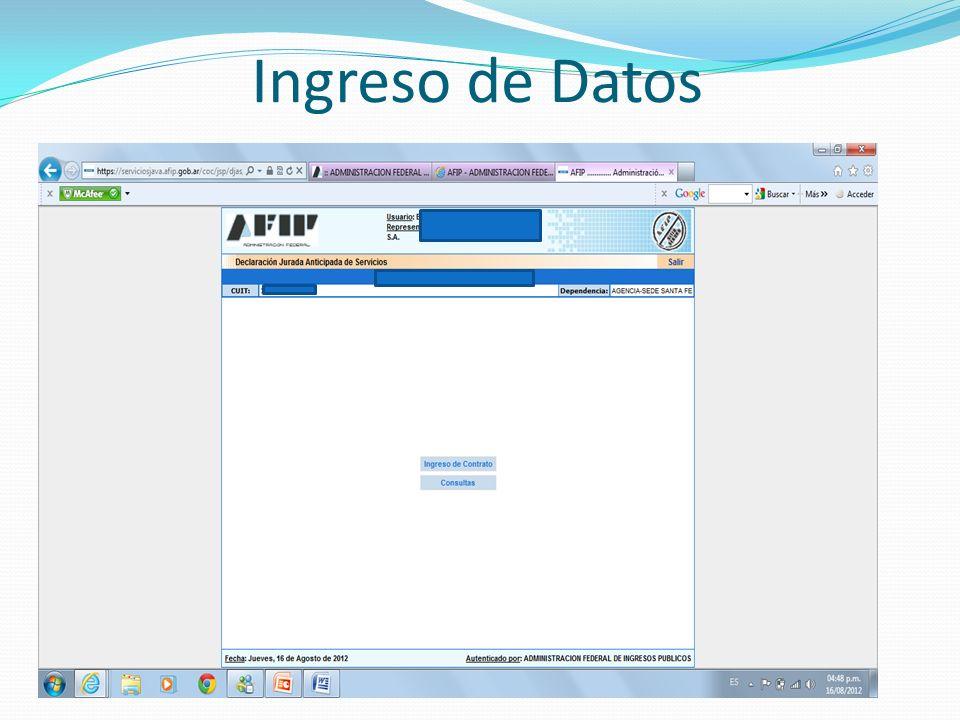 Ingreso de Datos