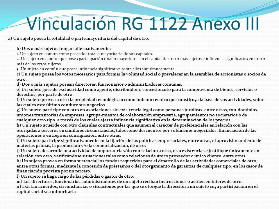 Vinculación RG 1122 Anexo III