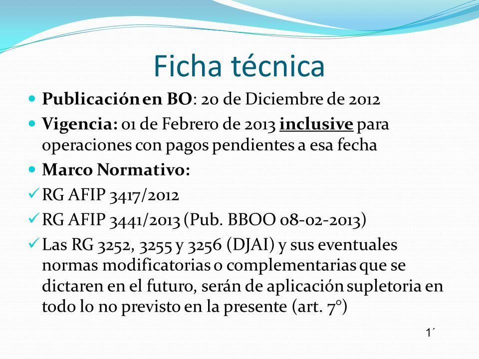 Ficha técnica Publicación en BO: 20 de Diciembre de 2012