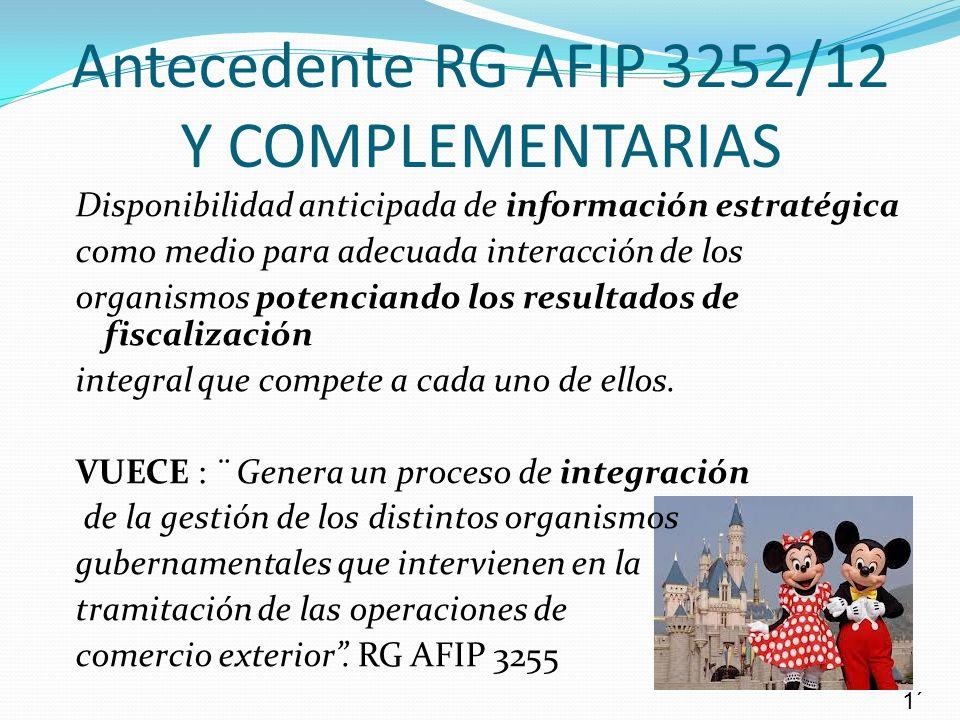 Antecedente RG AFIP 3252/12 Y COMPLEMENTARIAS
