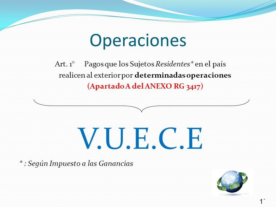 Operaciones Art. 1° Pagos que los Sujetos Residentes* en el país. realicen al exterior por determinadas operaciones.