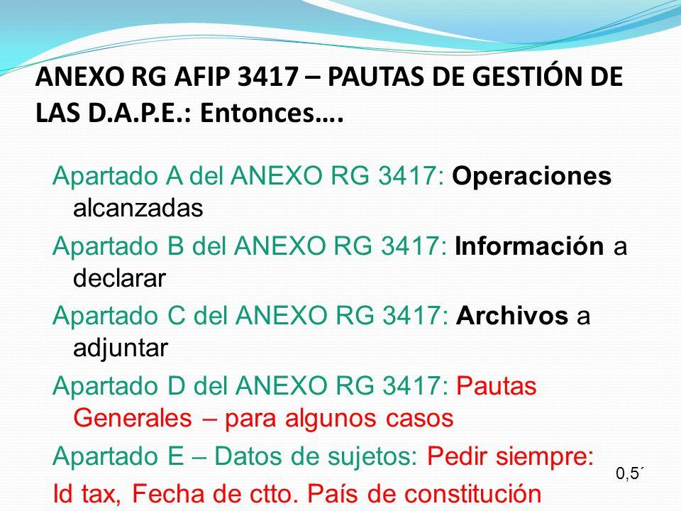 ANEXO RG AFIP 3417 – PAUTAS DE GESTIÓN DE LAS D.A.P.E.: Entonces….