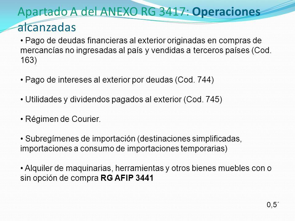 Apartado A del ANEXO RG 3417: Operaciones alcanzadas
