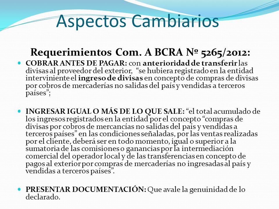 Aspectos Cambiarios Requerimientos Com. A BCRA Nº 5265/2012: