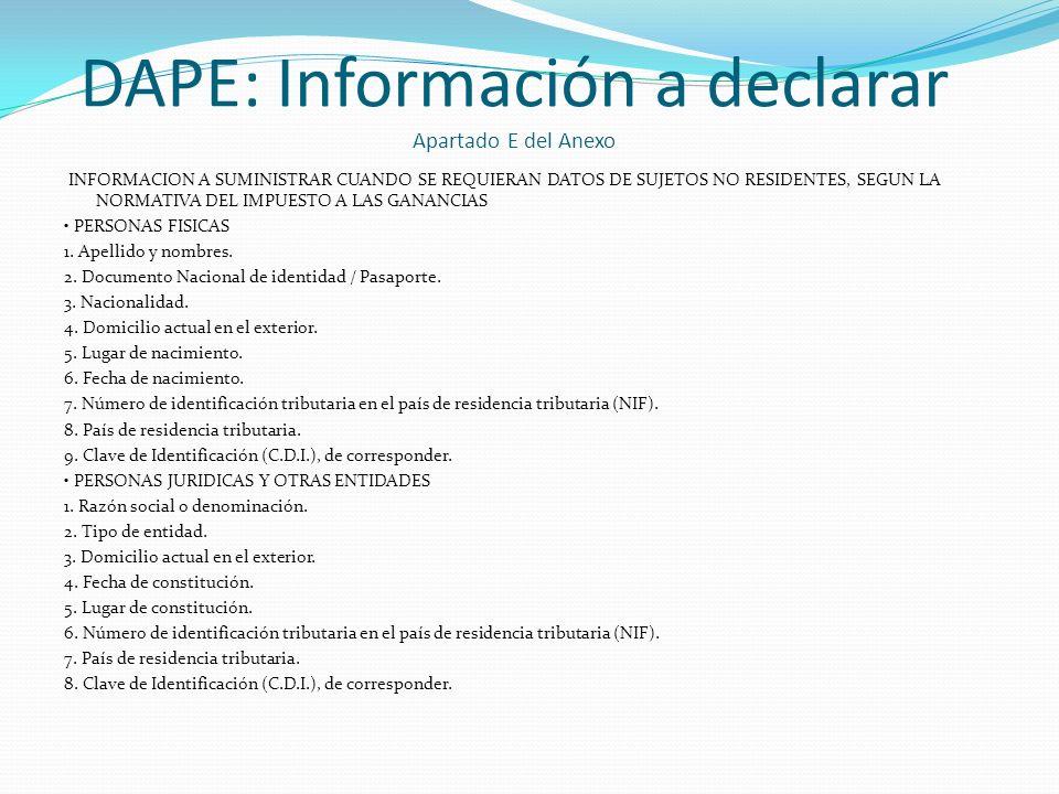 DAPE: Información a declarar Apartado E del Anexo