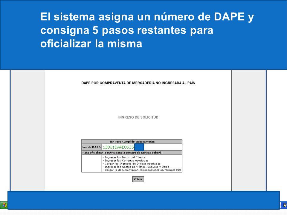 El sistema asigna un número de DAPE y consigna 5 pasos restantes para oficializar la misma
