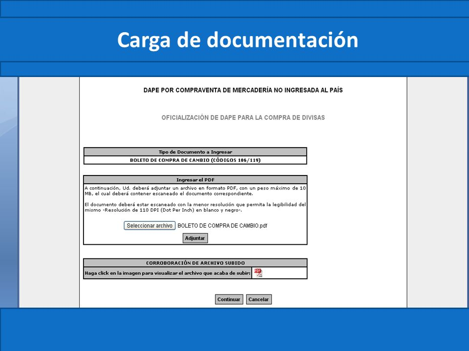 Carga de documentación