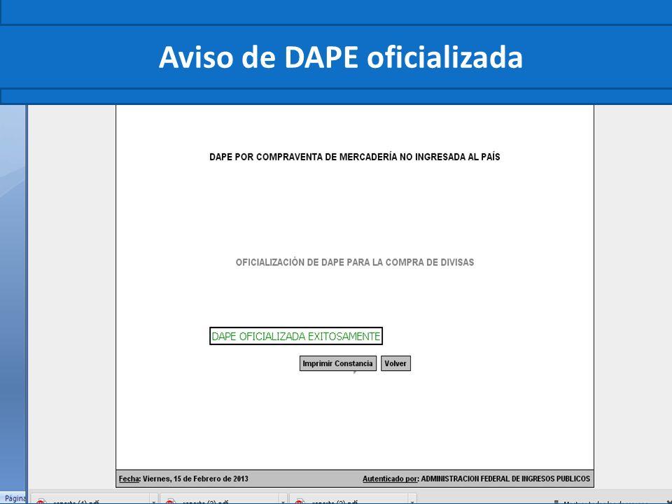 Aviso de DAPE oficializada