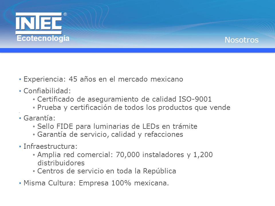 Ecotecnología Nosotros Experiencia: 45 años en el mercado mexicano