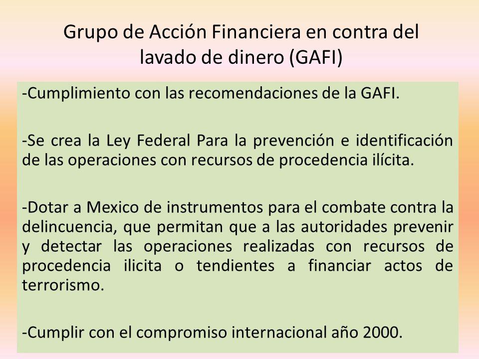 Grupo de Acción Financiera en contra del lavado de dinero (GAFI)