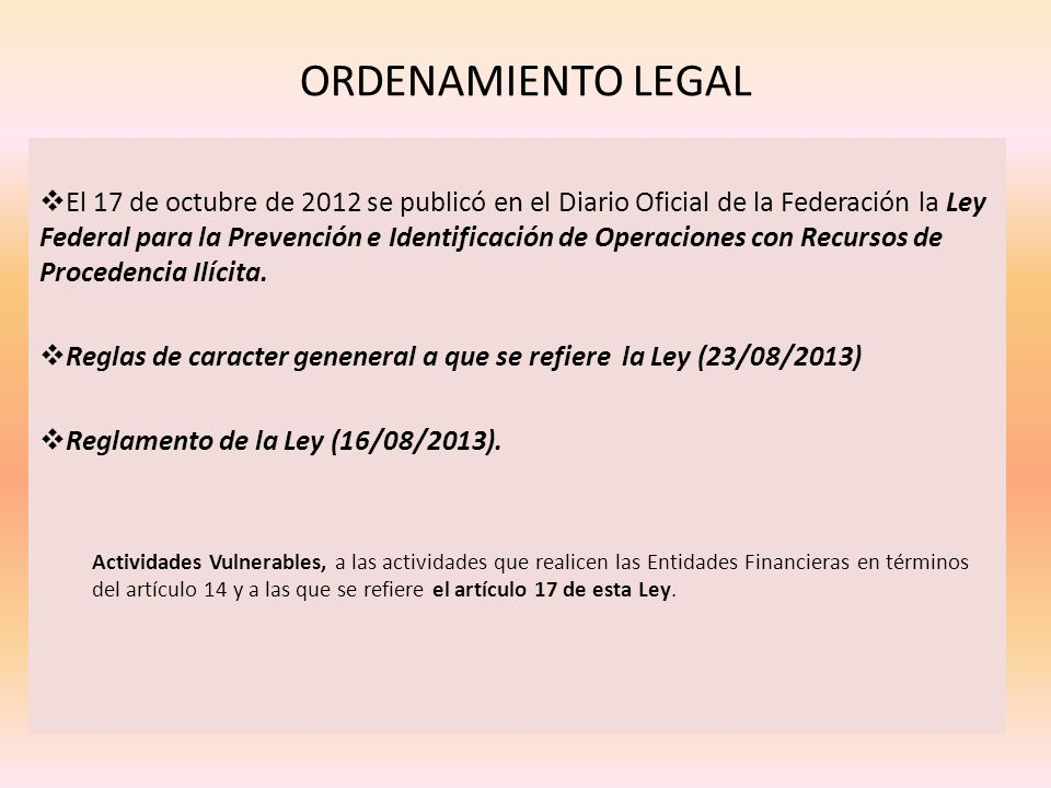 ORDENAMIENTO LEGAL