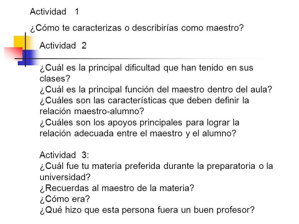 Actividad 1 ¿Cómo te caracterizas o describirías como maestro Actividad 2. ¿Cuál es la principal dificultad que han tenido en sus clases