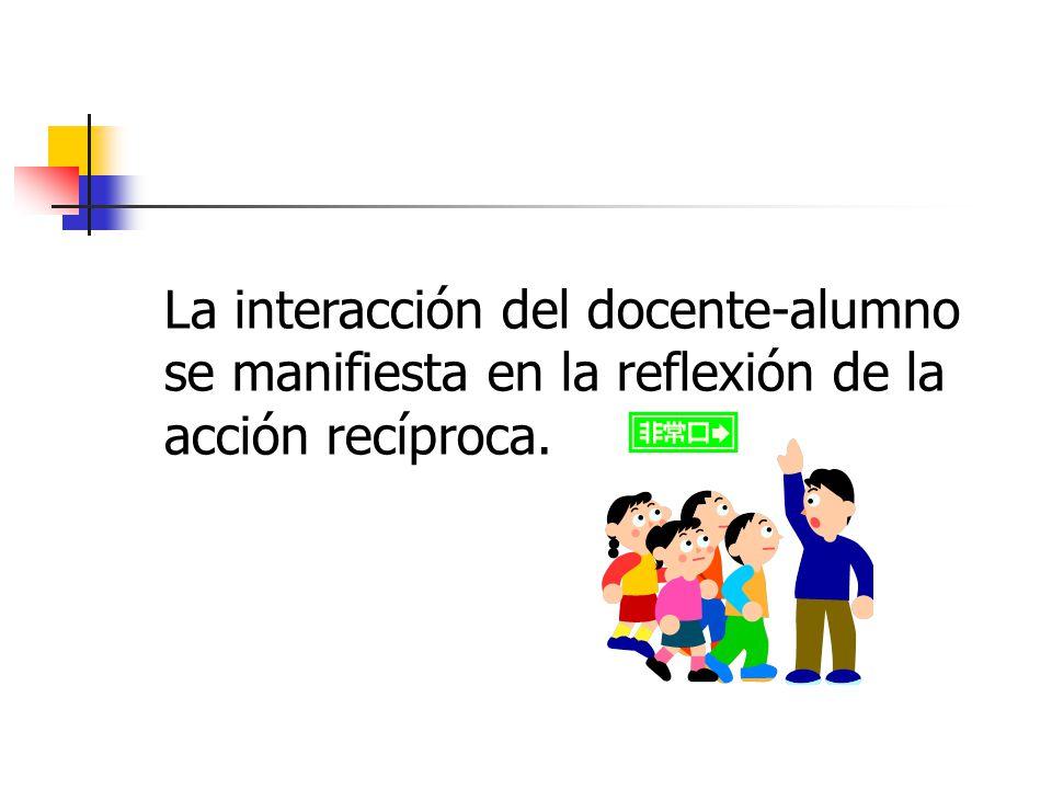 La interacción del docente-alumno se manifiesta en la reflexión de la acción recíproca.