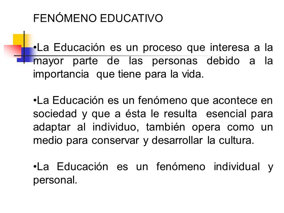 FENÓMENO EDUCATIVO La Educación es un proceso que interesa a la mayor parte de las personas debido a la importancia que tiene para la vida.