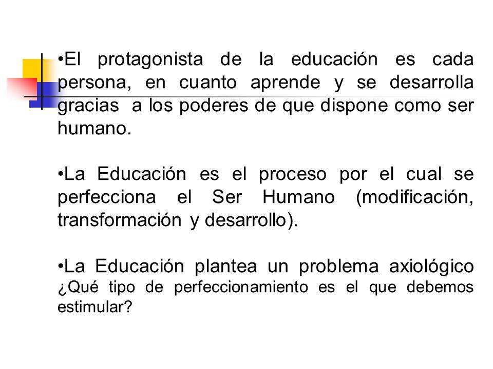 El protagonista de la educación es cada persona, en cuanto aprende y se desarrolla gracias a los poderes de que dispone como ser humano.