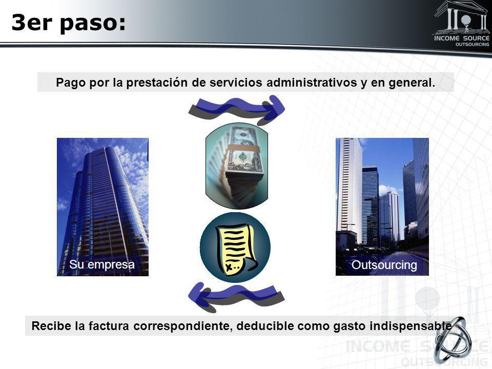 3er paso: Pago por la prestación de servicios administrativos y en general. Su empresa. Outsourcing.