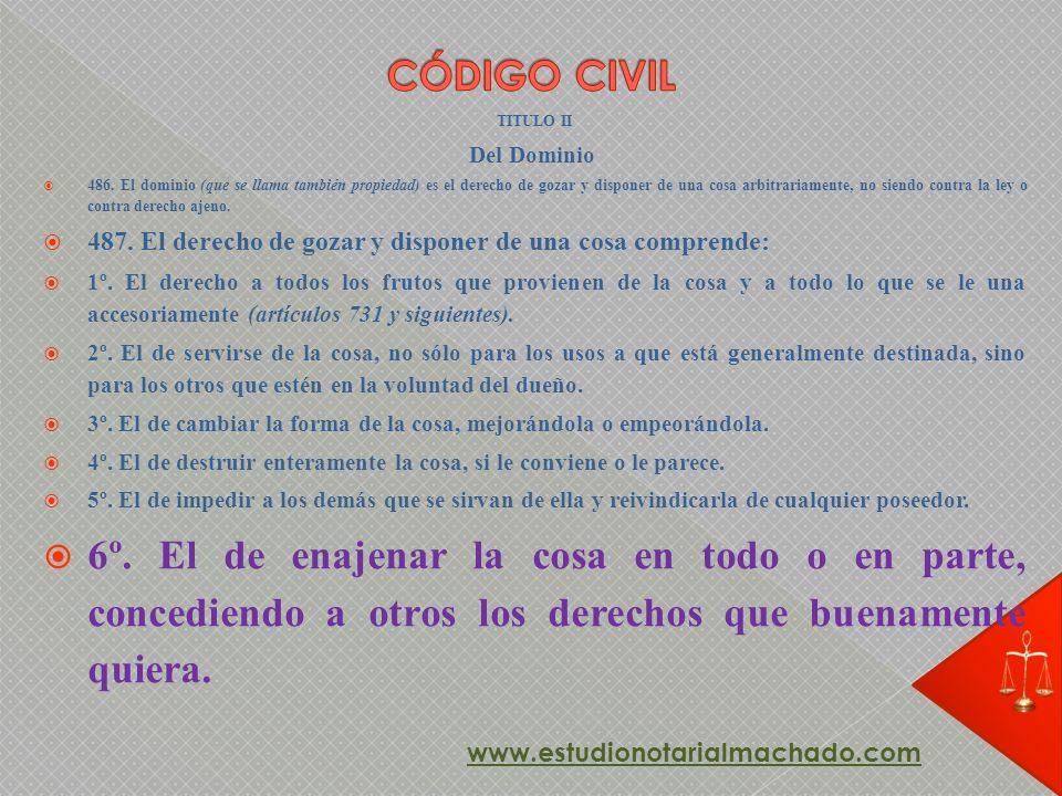 CÓDIGO CIVIL TITULO II. Del Dominio