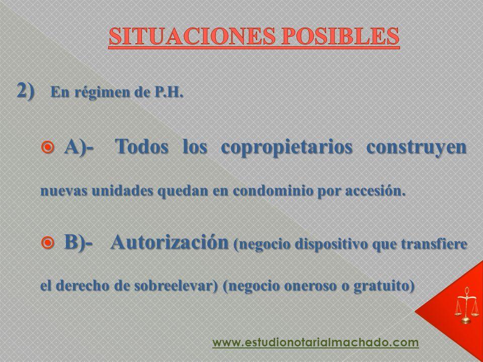 SITUACIONES POSIBLES 2) En régimen de P.H.
