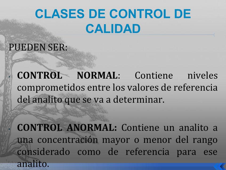 CLASES DE CONTROL DE CALIDAD
