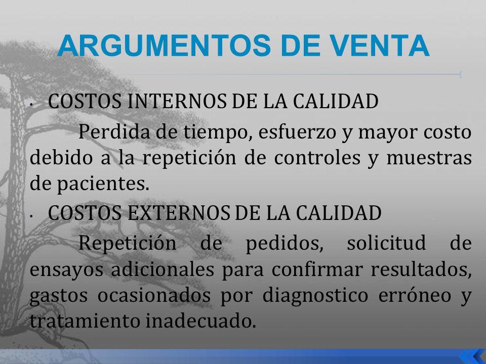 ARGUMENTOS DE VENTA COSTOS INTERNOS DE LA CALIDAD