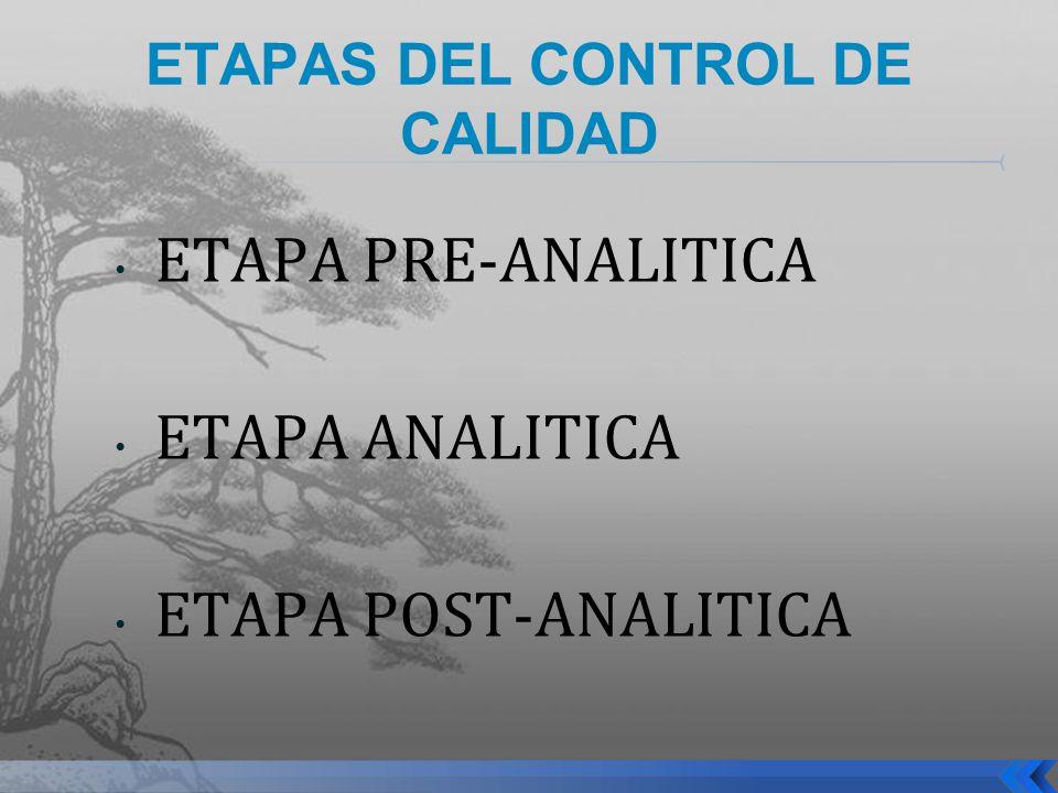 ETAPAS DEL CONTROL DE CALIDAD