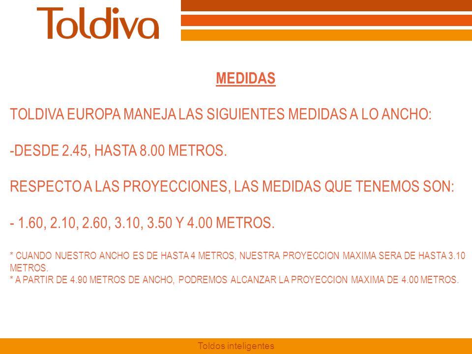 TOLDIVA EUROPA MANEJA LAS SIGUIENTES MEDIDAS A LO ANCHO: