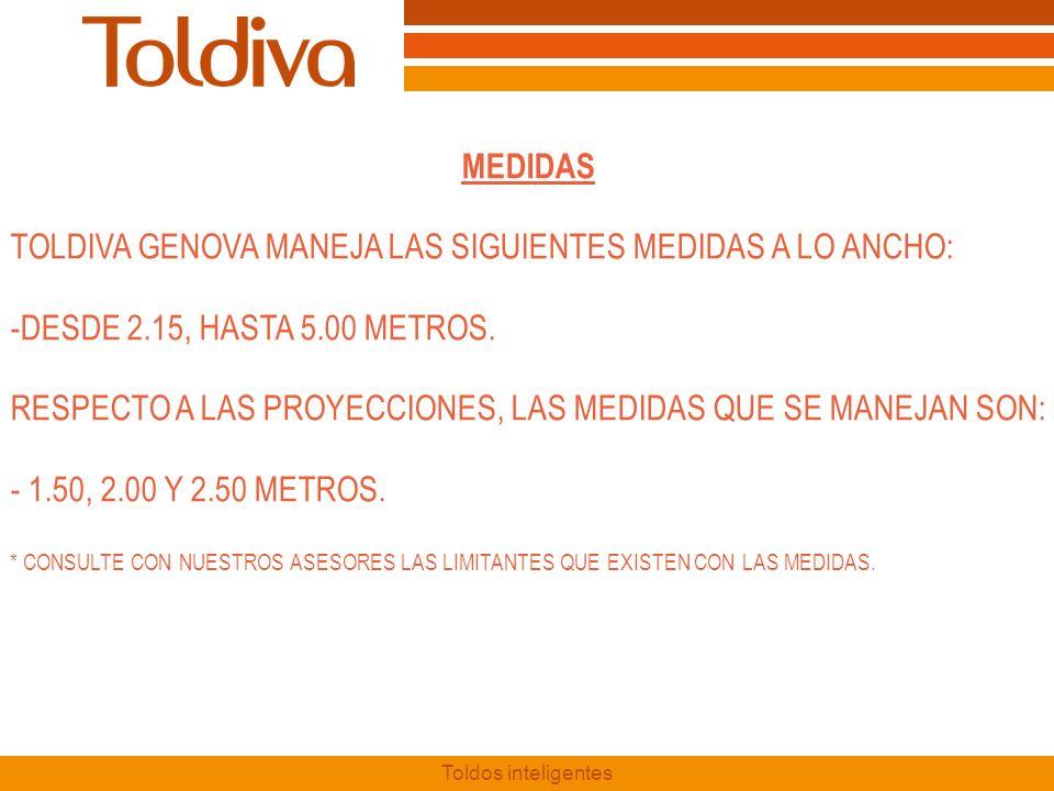 TOLDIVA GENOVA MANEJA LAS SIGUIENTES MEDIDAS A LO ANCHO: