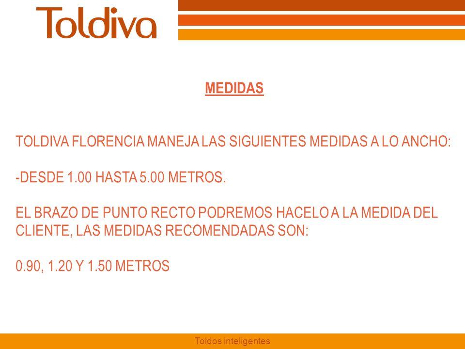 TOLDIVA FLORENCIA MANEJA LAS SIGUIENTES MEDIDAS A LO ANCHO: