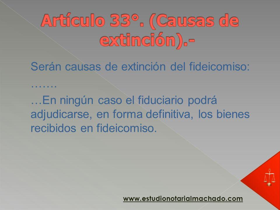Artículo 33°. (Causas de extinción).-