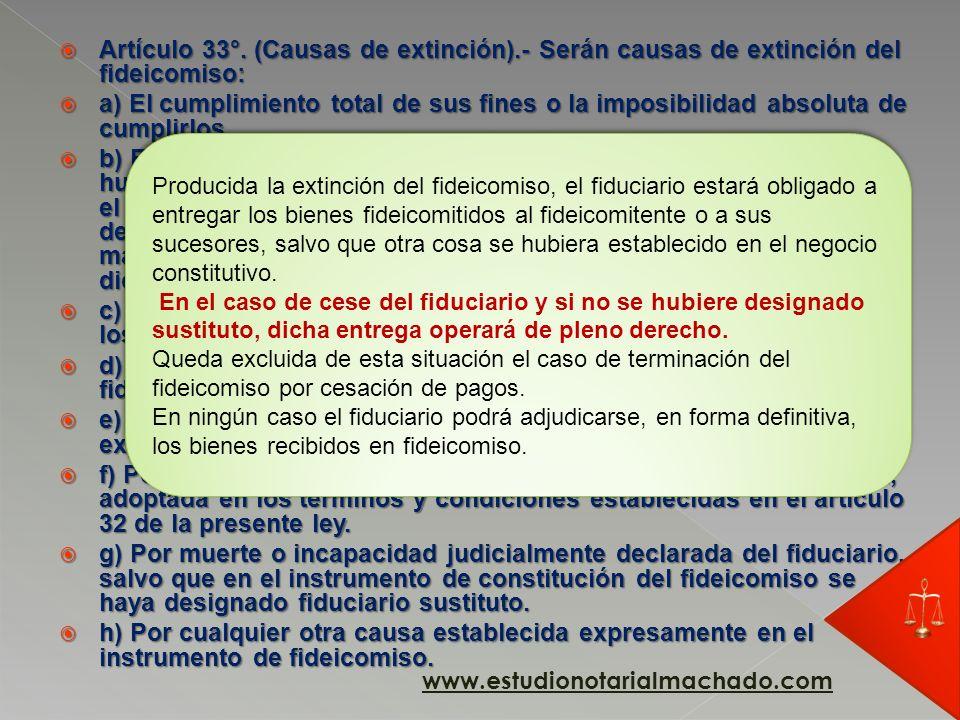 Artículo 33°. (Causas de extinción)