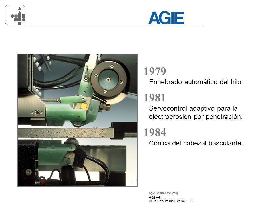 1979 1981 1984 Enhebrado automático del hilo.