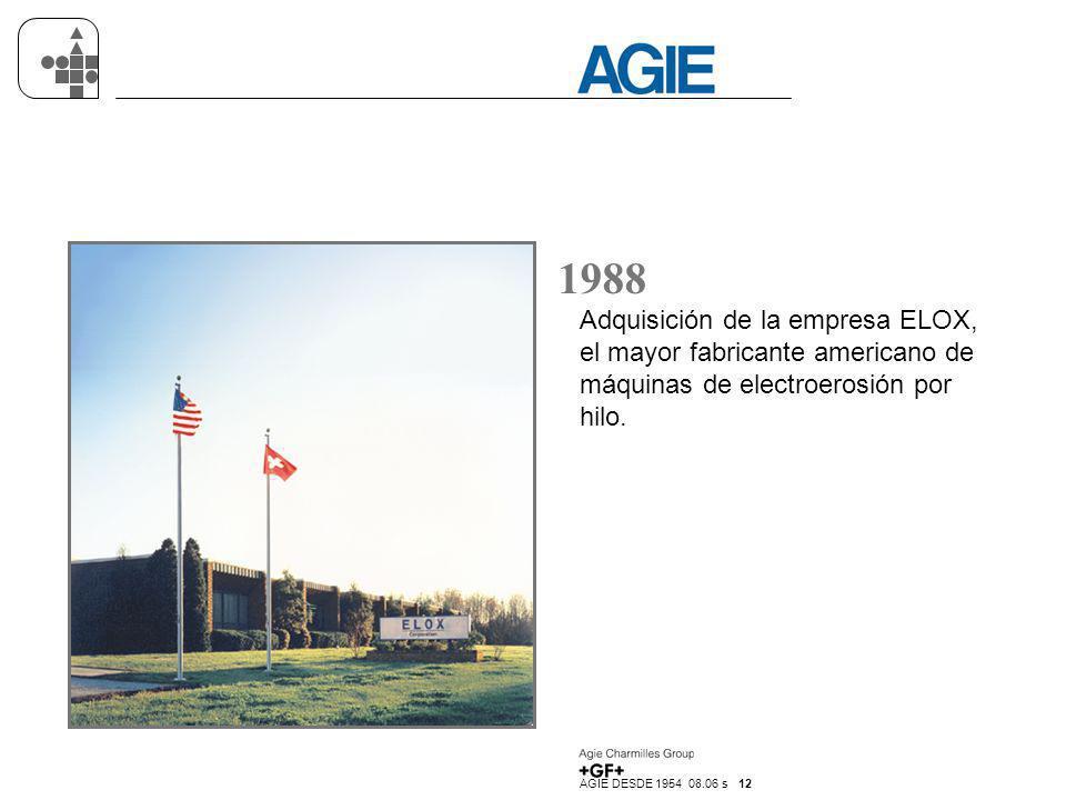 1988 Adquisición de la empresa ELOX, el mayor fabricante americano de máquinas de electroerosión por hilo.
