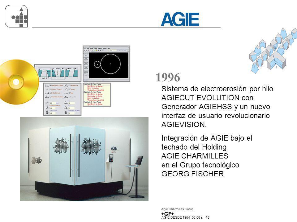 1996 Sistema de electroerosión por hilo AGIECUT EVOLUTION con Generador AGIEHSS y un nuevo interfaz de usuario revolucionario AGIEVISION.