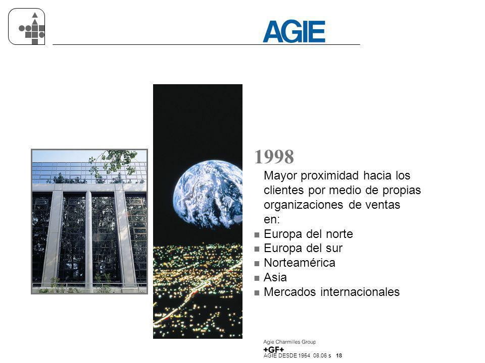 1998 Mayor proximidad hacia los clientes por medio de propias organizaciones de ventas en: Europa del norte.