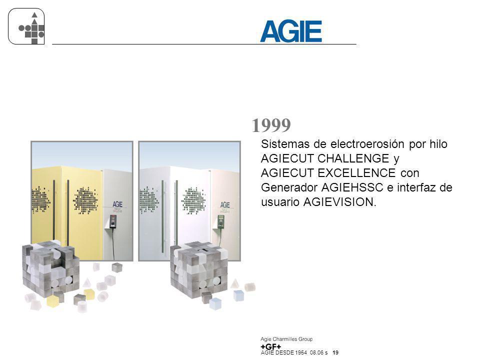 1999 Sistemas de electroerosión por hilo AGIECUT CHALLENGE y AGIECUT EXCELLENCE con Generador AGIEHSSC e interfaz de usuario AGIEVISION.