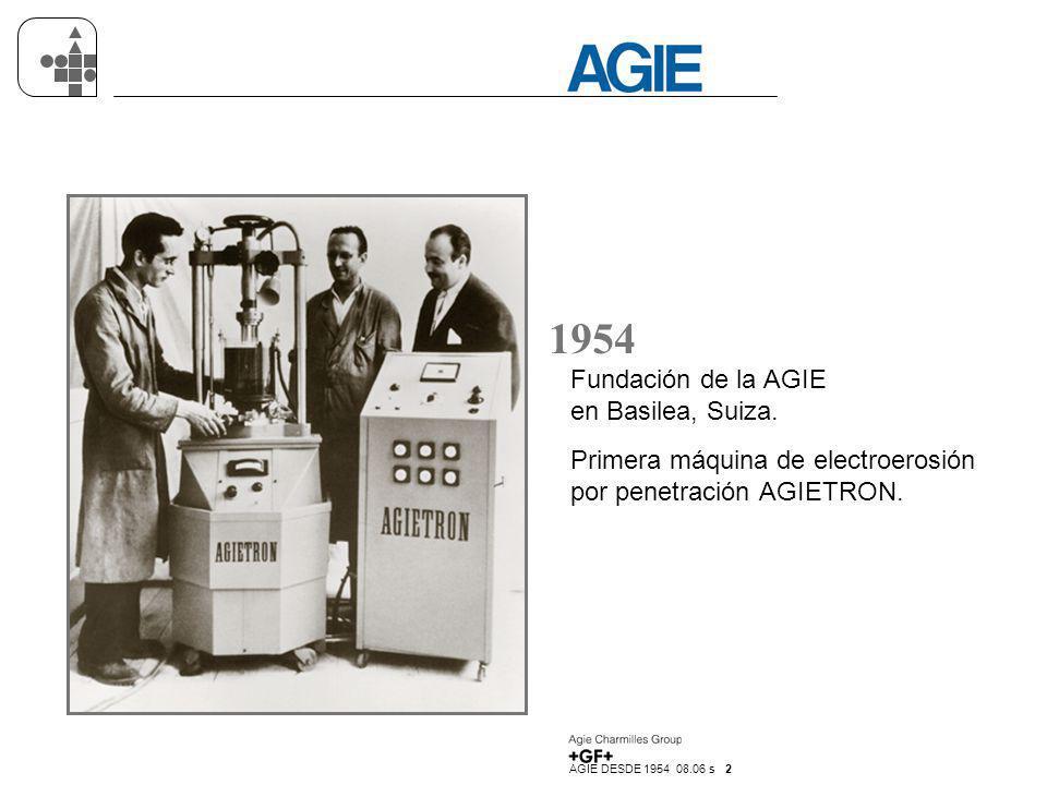 1954 Fundación de la AGIE en Basilea, Suiza.